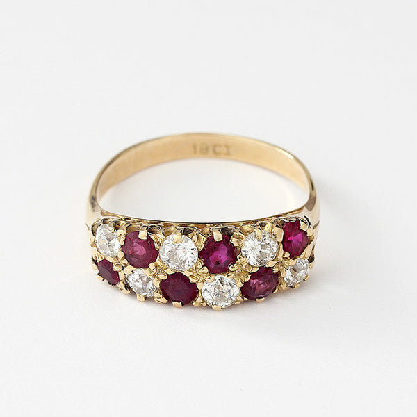 a secondhand yellow gold ruby and diamond cluster checkerboard ring size P