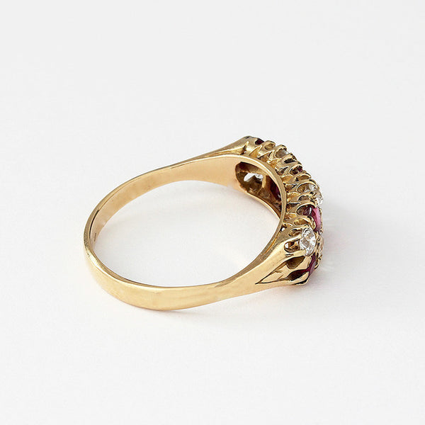 yellow gold ruby and diamond cluster ring with claw setting and size P
