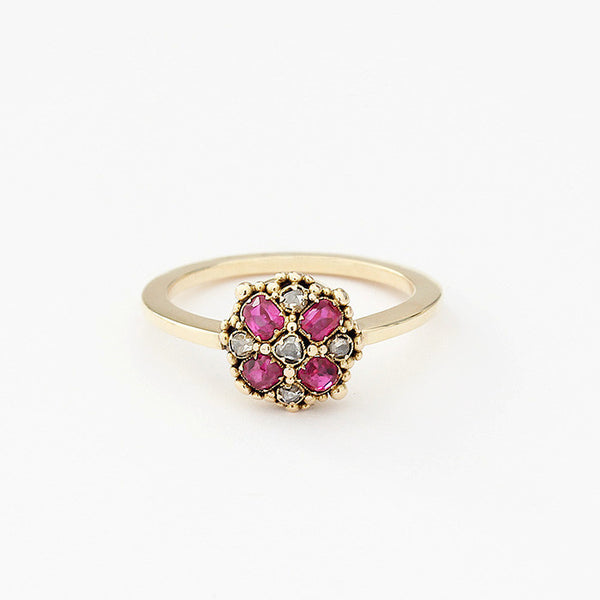 ruby and diamond traditional cluster ring in yellow gold