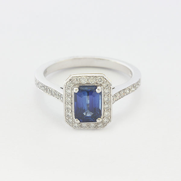 a beautiful sapphire diamond cluster ring rectangular shape in white gold