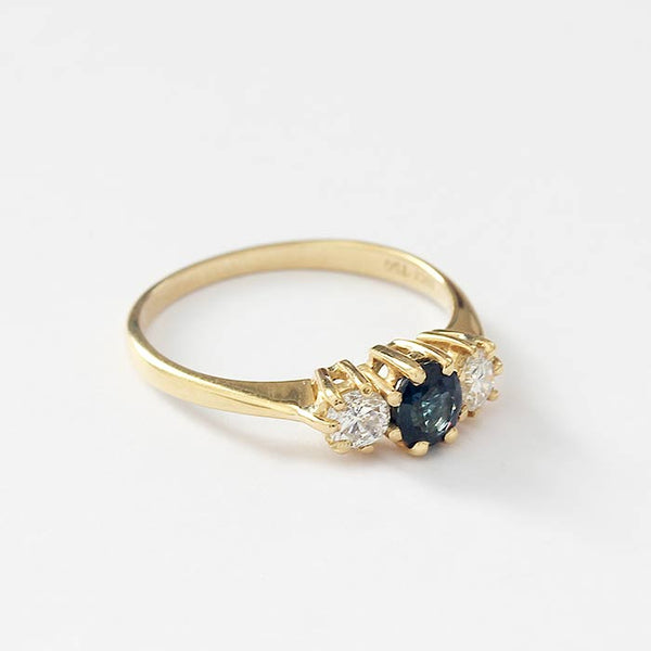 a secondhand 18 carat yellow gold claw set sapphire and diamond ring