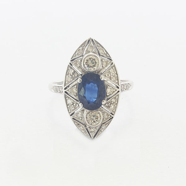 Sapphire and Diamond Edwardian Cluster Ring - Secondhand