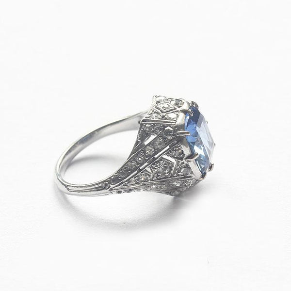 a platinum secondhand sapphire and diamond cluster French Art Deco ring
