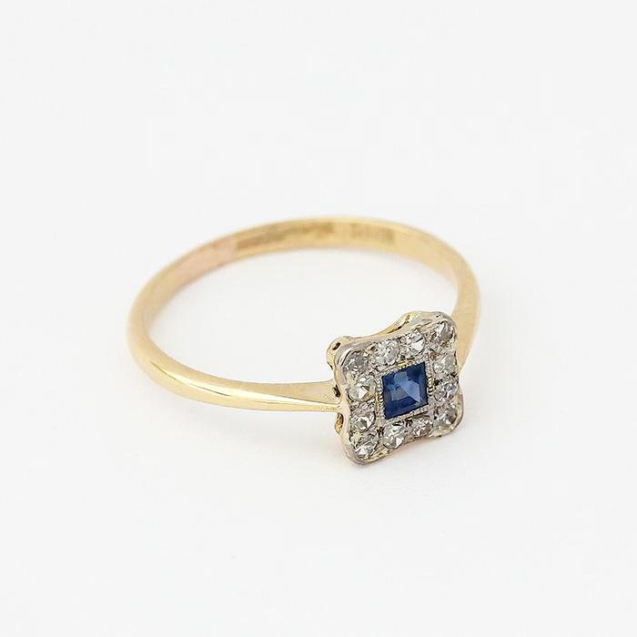 sapphire and diamond square cluster ring in yellow gold