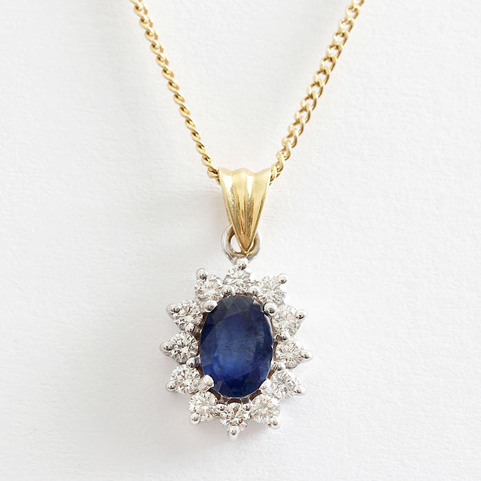 beautiful sapphire and diamond cluster pendant and necklace