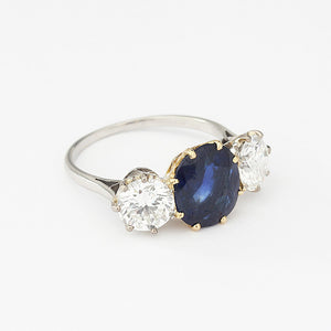 sapphire and diamond three stone ring claw set gold