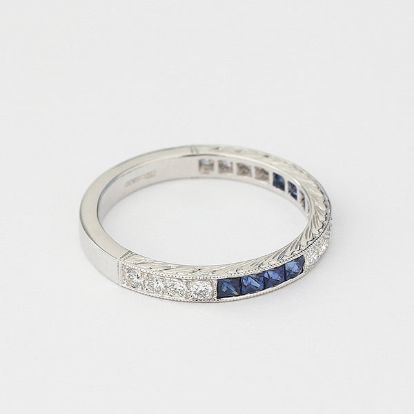 square sapphire and round diamond eternity ring in 18ct white gold