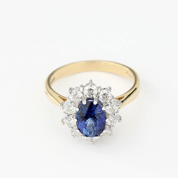 Sapphire And Diamond Oval Cluster Ring In 18ct Gold