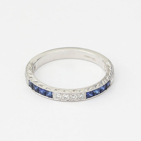 sapphire and diamond modern eternity ring in white gold