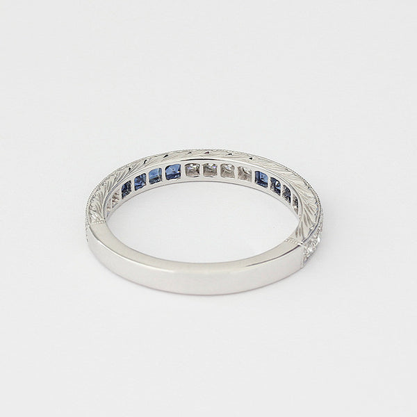 eternity ring with square sapphires and round diamonds in white gold