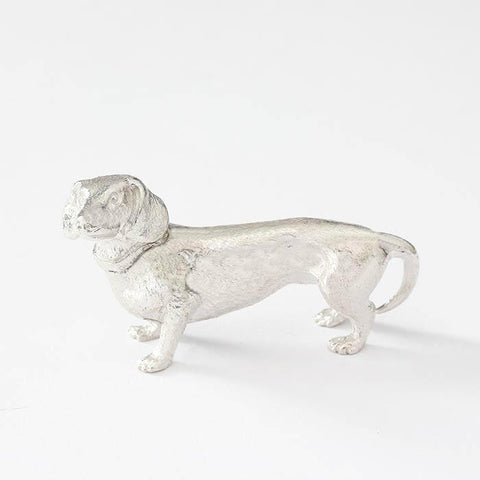 a solid silver dachshund dog ornament for table collectable with collar