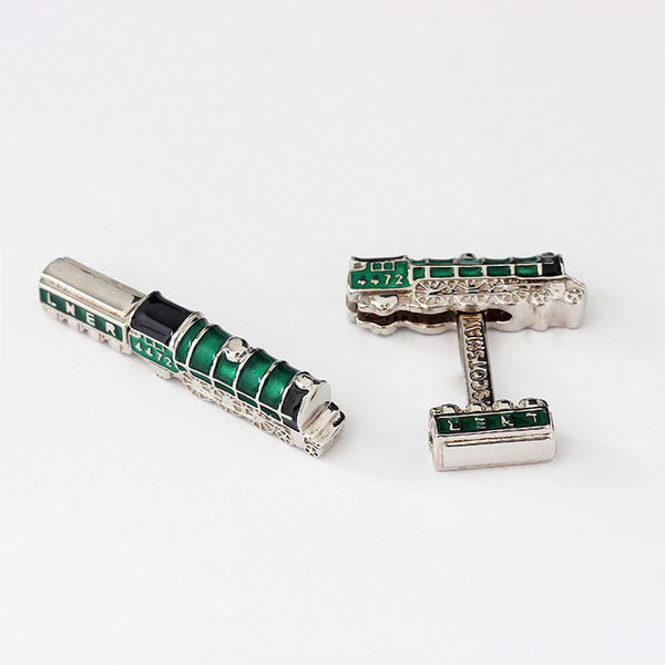 silver flying scotsman train cufflinks with green enamel
