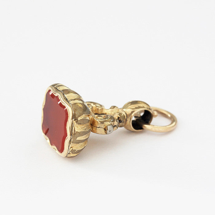 antique style gold plated seal fob charm