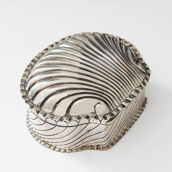 an antique victorian shell shaped silver trinket box with gilt interior and hallmarked birmingham 1888 by horton and allday