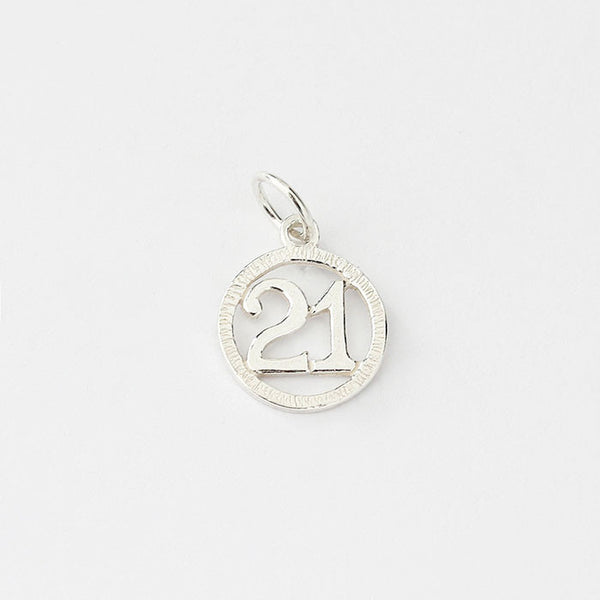 silver 21 birthday charm with round border