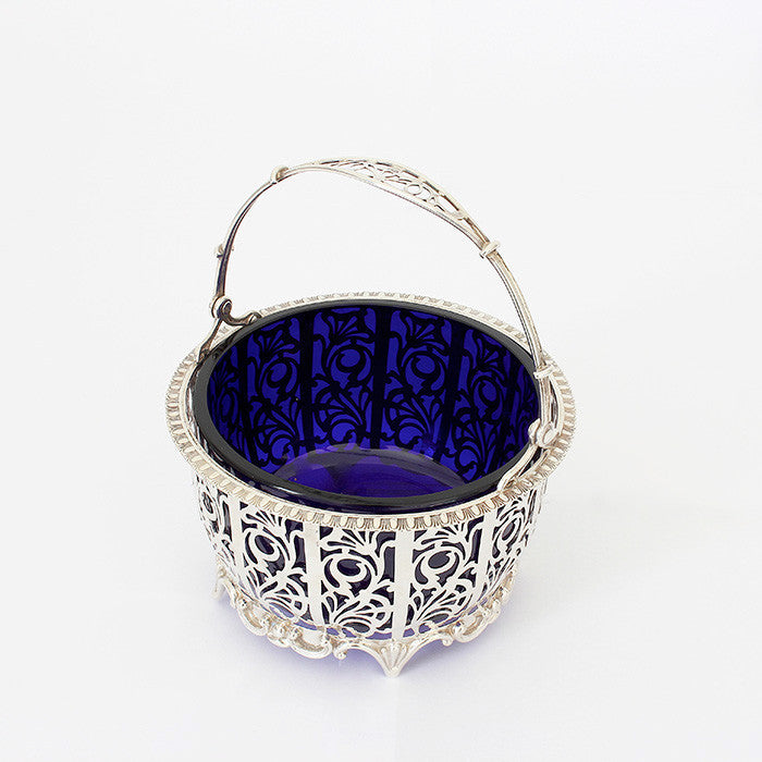 silver basket with blue liner dated 1926 birmingham