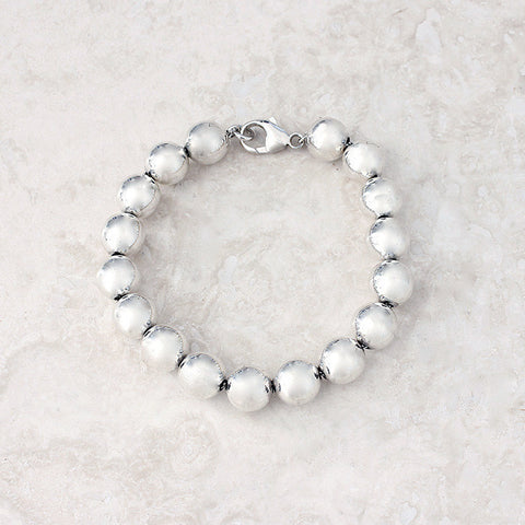silver bead link bracelet contemporary design