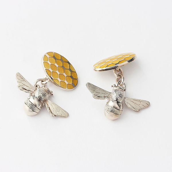silver bee and honeycomb enamel cufflinks