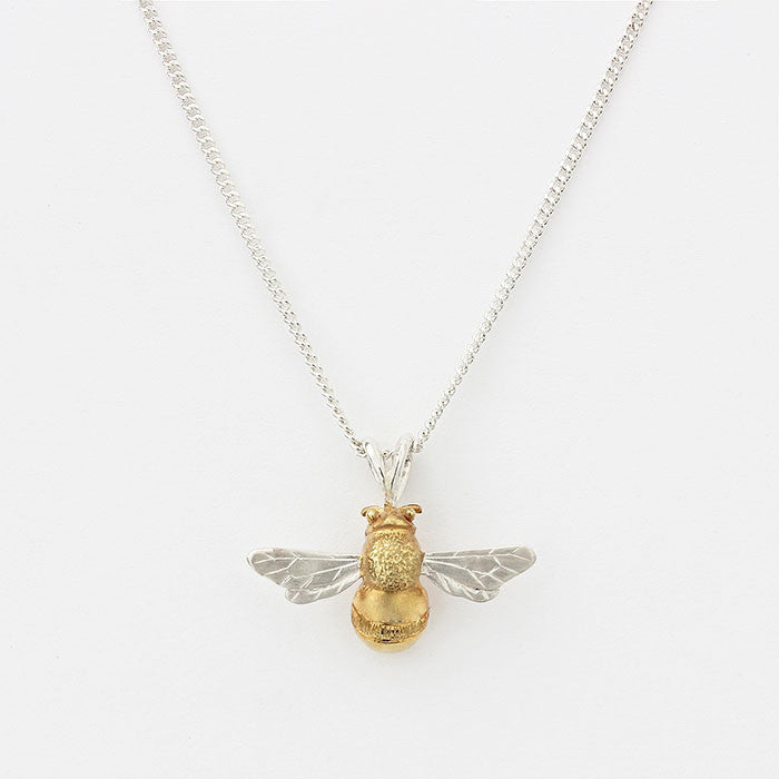 silver bee pendant 2 tone with yellow gilt silver necklace