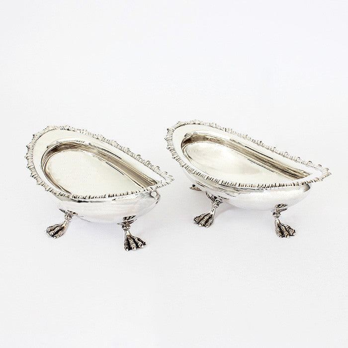 silver oval decorative bon bon dishes with feet 1901