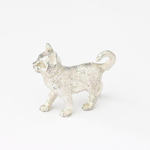 a sterling silver walking cat figure with great detailed fur and all british made