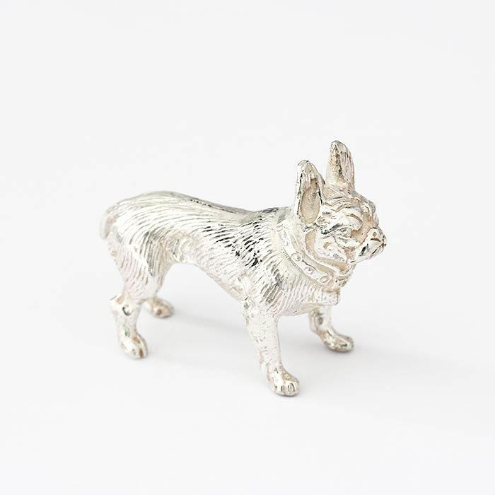 a silver french bulldog ornament with solid weight and british made