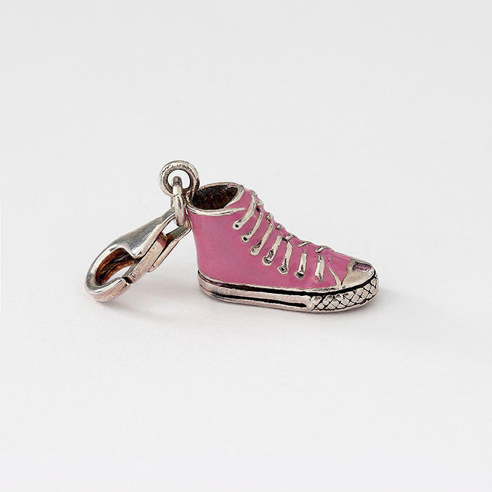 silver converse style boot charm with pink enamel