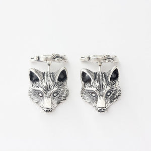 solid silver fox and hare cufflinks very detailed