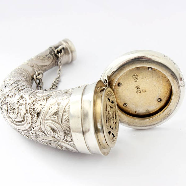 a victorian patterned horn shaped vinaigrette with engraving by W Thornhill and hallmarked London 1874
