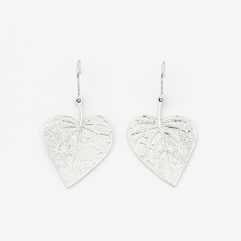 silver heart shaped leaf design drop earrings with a hook fitting