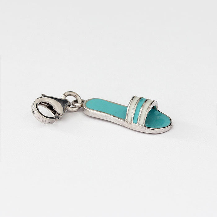 silver sandal charm with blue and white enamel