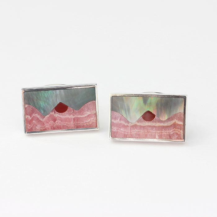 silver landscape mountain cufflinks with enamel