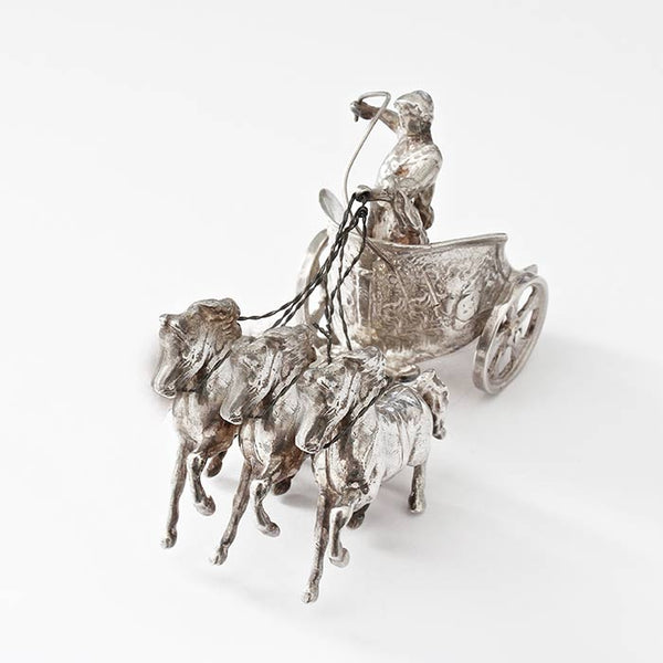 a sterling silver chariot ornament miniature with great detailing and hallmarked for London 1966