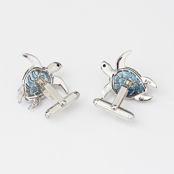blue enamel turtle cufflinks made in sterling silver modern