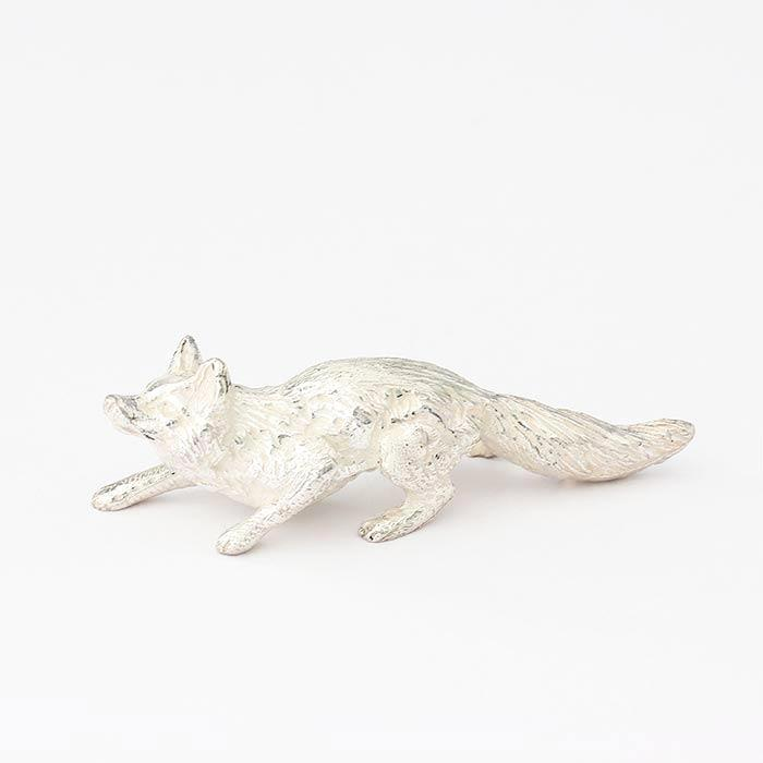 a sterling silver running fox ornament with full british hallmark
