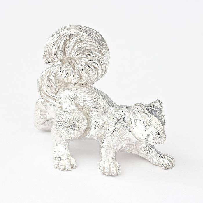 a fine quality sterling silver solid squirrel ornament and british made