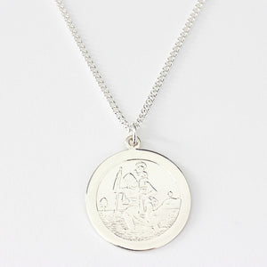 sterling silver st christopher pendant and necklace