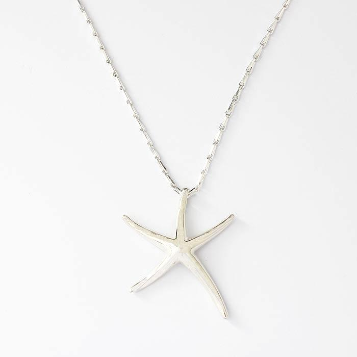 a sterling silver large solid starfish pendant which is plain on a barleycorn sterling silver necklace which is 54cm long