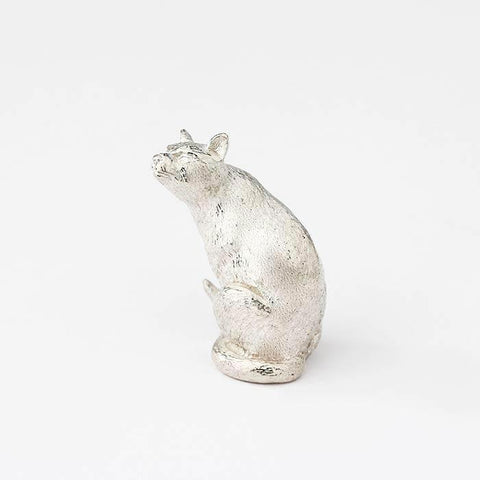 sterling silver siamese sitting cat figure with solid weight and all british made