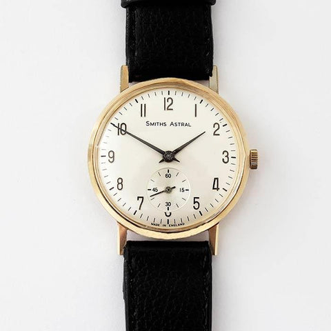 a vintage mens smiths astral wrist watch dated 1960s with seconds feature and brown leather strap