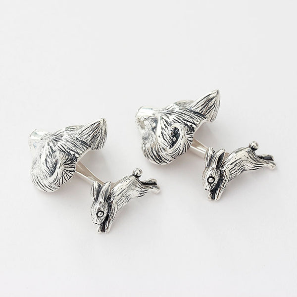 fox and hare silver cufflinks with bar fitting