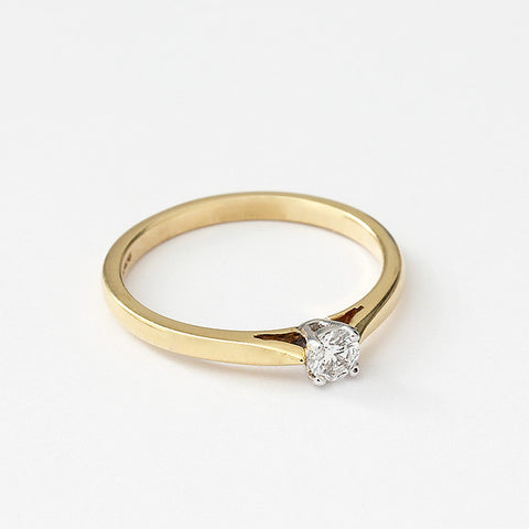 yellow gold diamond single stone engagement ring with 4 claw setting