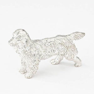 a detailed sterling silver spaniel dog small solid ornament