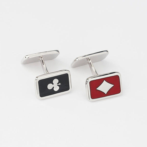 silver playing cards cufflinks with red and black enamel bar fitting