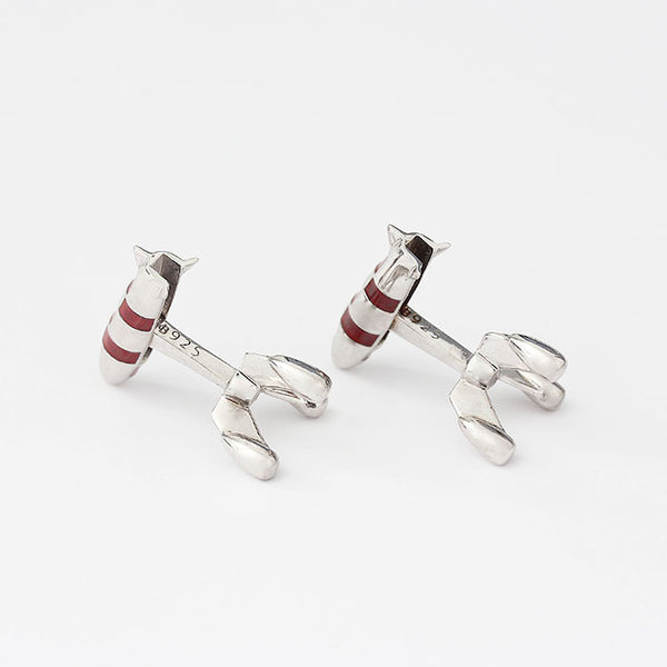 sterling silver rocket design cufflinks with bar and red enamel