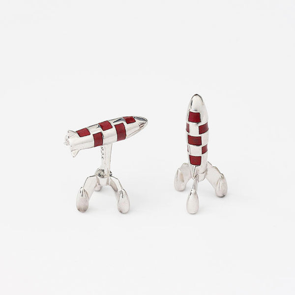 solid silver rocket design cufflinks with red enamel detail