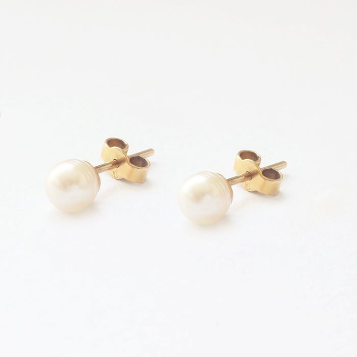 small yellow gold plain pearl stud earrings secondhand
