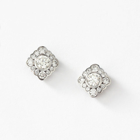 diamond set cluster earrings in 18ct white gold and a rub over setting