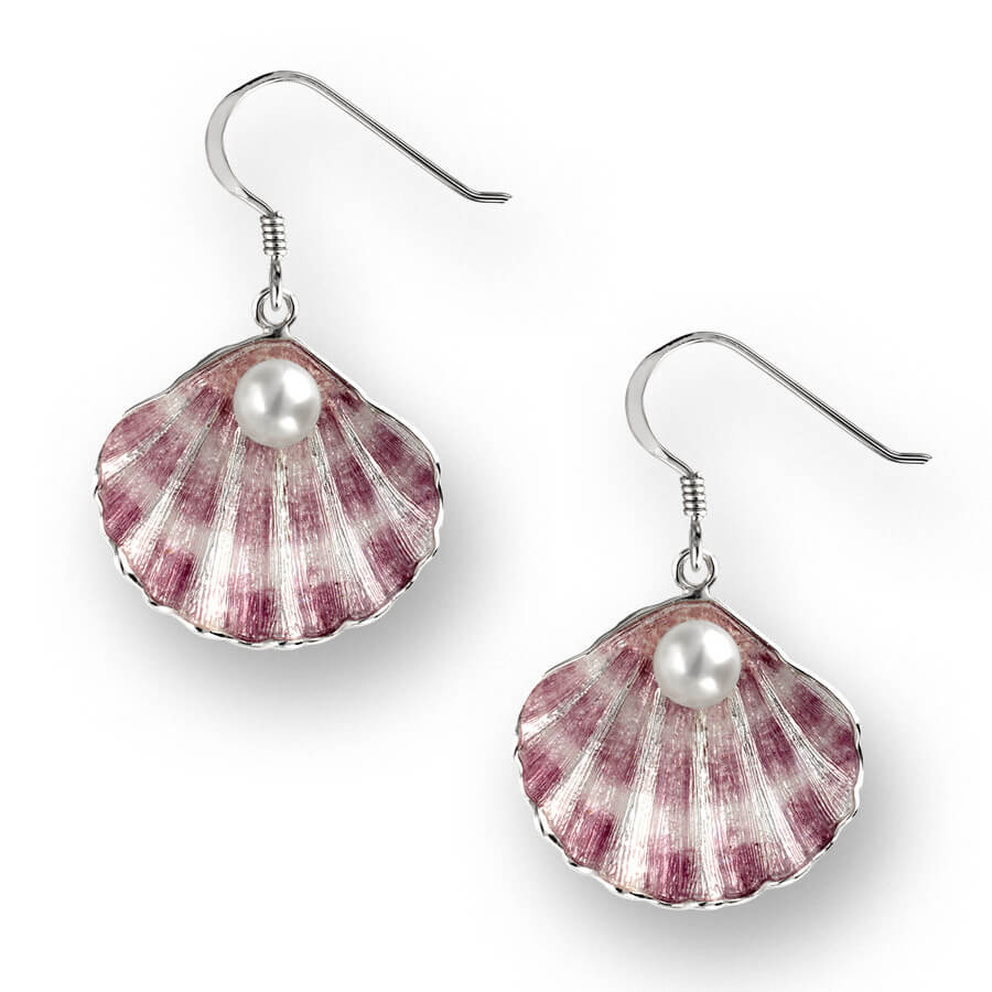 Enamel, Pearl & Silver Shell Earrings by Nicole Barr