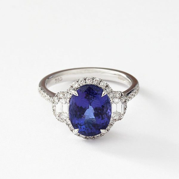tanzanite and diamond cluster ring in 18ct white gold with large oval tanzanite